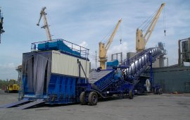 Clinker rubber tyred shiploader