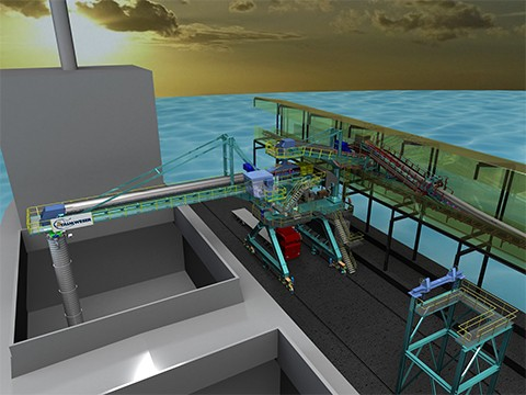 Shiploader for petroleum coke at INA refinery, Rijeka